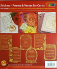 Card making & Scrapbook Stickers Poems & Verses 6 Transparent Silver or Gold NEW