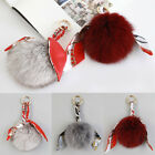 TS03 Fluffy Genuine Fox Fur Ball Bag Charm Silk Scarf Pom Pom Key Rings Chain