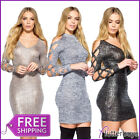 Laser Cut Sleeve Bodycon Dress Metallic Prom High & V Neck Womens Ladies Size  ❤