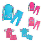 Kid Swimsuit Girls 3-12Y Swimming Rash Guard Sleeve Costumes Fitness Sunsuits