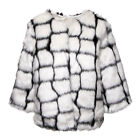 Womens Bleeding Heart Cream Mix Synthetic Faux Fur Fully Lined Cropped Jacket