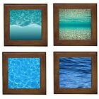 Ocean Water Ripples Framed Ceramic Tile Home Decor Plaque Entry Table Stand BN