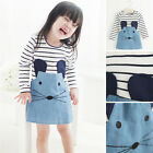 Child Girls Kids Dress Top Skirt Long Sleeve 2-6Y Baby Party 1-Piece Clothes
