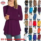 Внешний вид - USA Womens Round Neck Long Sleeve Rounded Hem Layering Tunic Top Casual Solid