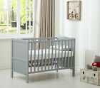 MCC&reg; Wooden Baby Cot Bed &quot;Orlando&quot; &amp; Water repellent Mattress <br/> Teething Rails✔ Solid Pine✔ Height Adjustable✔