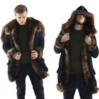 Fashion Men's Warm Winter Long Sleeve Large Collar Coat Faux Fur Jacket Black