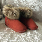 GIRLS-FAUX SUEDE AND FUR- WINTER BOOTS- RED- SIZE KIDS 11.5 / EUR 30
