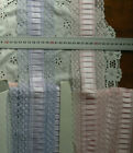 Pleated SATIN Centre LACE 3 Colours 80mmWide 3 to 5 Metre Lengths MultiList Flt1
