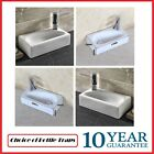Modern Square Small Cloakroom Wall Hung Counter top Corner Basin Sink 410mm