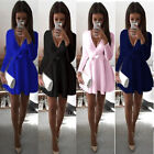 Womens Long Sleeve Deep V Casual Evening Party Cocktail Short Mini Dress S-XL