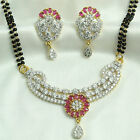 24k gold & rhodium plated Simulated CZ Mangalsutra With Chain & Earring set M488