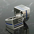 Cool Stainless Steel American Flag Style Rings Men's Band Jewelry Size 6-13