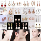 Fashion Women Drop Dangle Rhinestone Hoop Rose Gold Plated Ear Stud Earrings