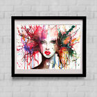 ORIGINAL WATERCOLOUR WOMEN FACE ALIEN PRINT NEW SIGNED POP ART ABSTRACT POP ART