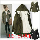 NEW LADIES HOODED  WINTER WARM  PARKA FLEECE TOP OUTWEAR WOMENS LONG JACKET COAT