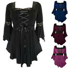 Vintage Women Flared Sleeve T-Shirt Victorian Gothic Punk Tops Lace Blouse S-5XL