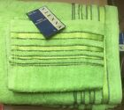 100% COTTON STRIPED LIME GREEN DELUXE TOWELS - HAND BATH SHEET OR BALE SETS