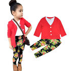 3Pcs/Set Fashion Kids Girls Suit Red Coat + Tops (T-shirt) + Pants Children Wear