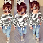 Fashion Girl Suit Stripe Long Sleeve T-Shirt + Jeans Trousers 2Pcs/set Outfit