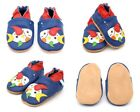Dotty Fish Boys Soft Leather Baby and Toddler Shoes with non slip Suede Soles <br/> Animals, Stars, Cars in sizes 0-6 Months - 4-5 Years