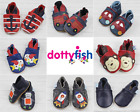 Dotty Fish Boys Soft Leather Baby and Toddler Shoes with non slip Suede Soles <br/> Various Designs - Boys Soft Leather Baby Shoes - New