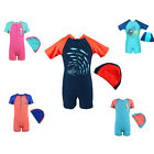 Youth Kids Swimming Swimsuit 2-8Y Boys Shark UV Rash Beachwear Bathers 2 pcs Cap