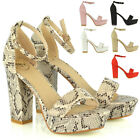 Womens Platform Block Heel Sandals Ladies Peep Toe Party Ankle Strap Shoes Size