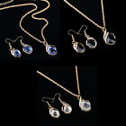 Fashion Women's  Filled Sapphire necklace earrings ring jewelry set Gift gt