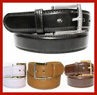 "MEN'S CASUAL DRESS JEANS GENUINE LEATHER BELT 1 1/2"" WIDE M L XL + BIG SIZE"