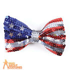 Adult USA Sequin Bow Tie American Flag Uncle Sam Unisex Fancy Dress Accessory