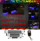 10PC LED COLOR CHANGING HONDA HARLEY GOLF CART NEON LIGHTS KIT w WIRELESS REMOTE
