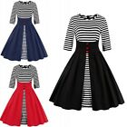 Vintage Women Retro 50s 60s Rockabilly Swing Pinup Plus Size Causal Party Dress
