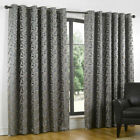 HEAVY Thick Lined Curtains EYELET DUCKEGG SILVER GREY PEWTER Pair  66 90 108 d