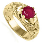 MEN'S SOLID 14K 10.0 GRAMS YELLOW GOLD AND NATURAL 1.50 CWT RUBY RING #R1821