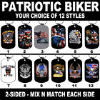 DOG TAG NECKLACE - PATRIOTIC BIKER 12 Styles Mix N Match Motorcycle USA America