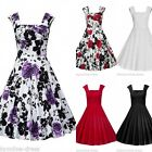 Women Vintage 50s 60s Floral Rockabilly Swing Pinup Casual Party Plus Size Dress
