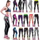 Womens Yoga Workout Sports Pants Gym Print Leggings Fitness Stretch Trousers New