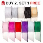 Full Reel 20 Metre Wired Edge Organza Ribbon 32mm 50mm 70mm Various Colour Gift