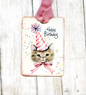 Hang Tags HAPPY BIRTHDAY KITTY CAT IN PARTY HAT TAGS or MAGNET #317  Gift Tags