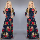 NEW Vintage Women Floral Evening Party Dress 3/4 Sleeve Maxi Boho Long SunDress