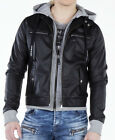 CIPO AND BAXX TRENDY CJ157 BLACK RIDE LEATHER JACKET WITH HOOD