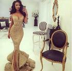 2017 Gold Mermaid Sequins Evening Dress Prom Pageant Celebrity Party Split Gowns