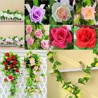 "94.48""Artificial Silk Rose Flower Ivy Vine Leaf Garland Wedding Party Home Decor"