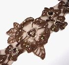 "4yds  Brown Lace w/ Silver Metallic / Bead & Sequin Trim 2-1/2"" 6.3cm SQ16"