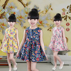 Sweet Cute Princess Dress Cotton Floral Ethnic Sleeveless Dress For Little Girl