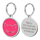 30mm Cute Cat Face Engraved Dog Cat Tags with Bell Gift Free Engraving