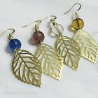 ER3126 Graceful Garden Handmade Glass Bead Yellow Brass Filigree Leaf Earrings