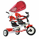 4 In 1 Twins Kids Baby Stroller Tricycle Safety Double Rotatable Seat w / Basket