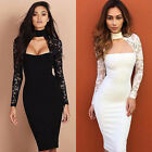 Ladies Womens Slim Dress Midi Bodycon Black Party Cocktail Pencil Lace Size XL