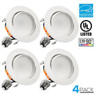 "4""LED Gimbal Recessed Retrofit Downlight, 10W(3000K)/11W(5000K), 1Pack/4Pack"
